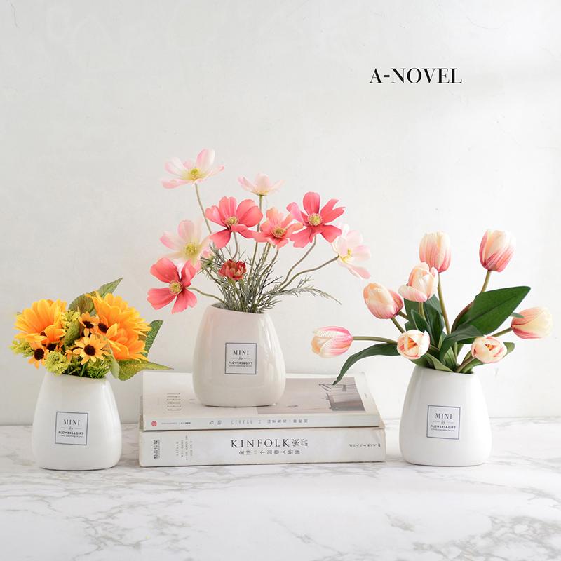 向日葵仿真花套�b�[件假花客�d�[�O塑料花小盆栽餐桌花家居�b�品