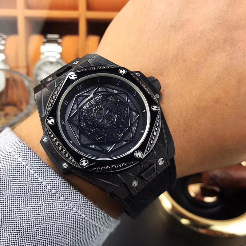 Summer new personalized fashion watch mens wine barrel shape Japanese mechanical watch rubber large watch basin fine steel mens Watch