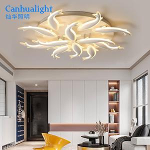 灯具大客厅LED吸顶灯家装新款鱼形灯现代简约亚克力卧室开花灯