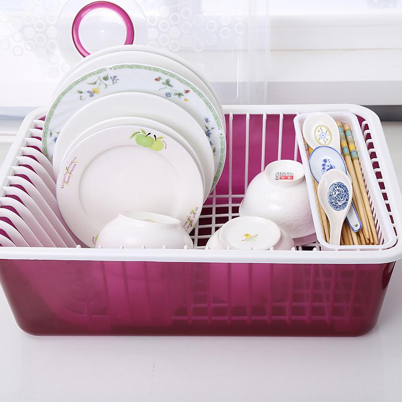 碗櫃塑料廚房瀝水碗架帶蓋碗筷餐具收納盒放碗碟架滴水碗盤置物架