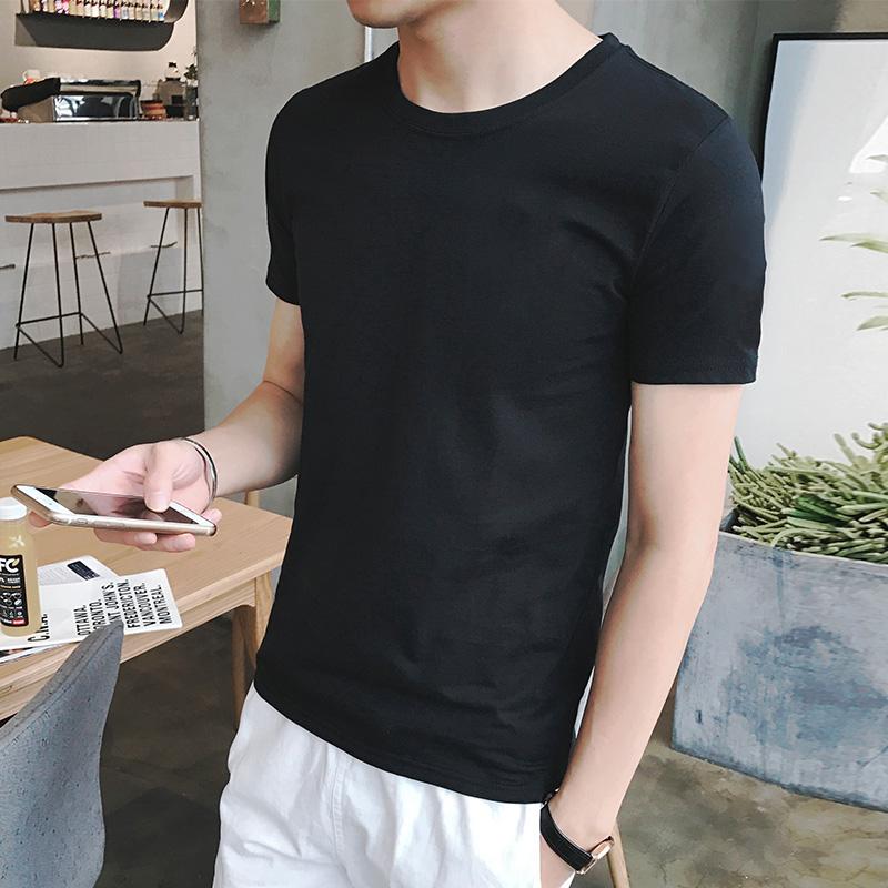 短袖t恤男生夏装韩版潮流学生圆领纯棉修身夏季男士黑白纯色衣服