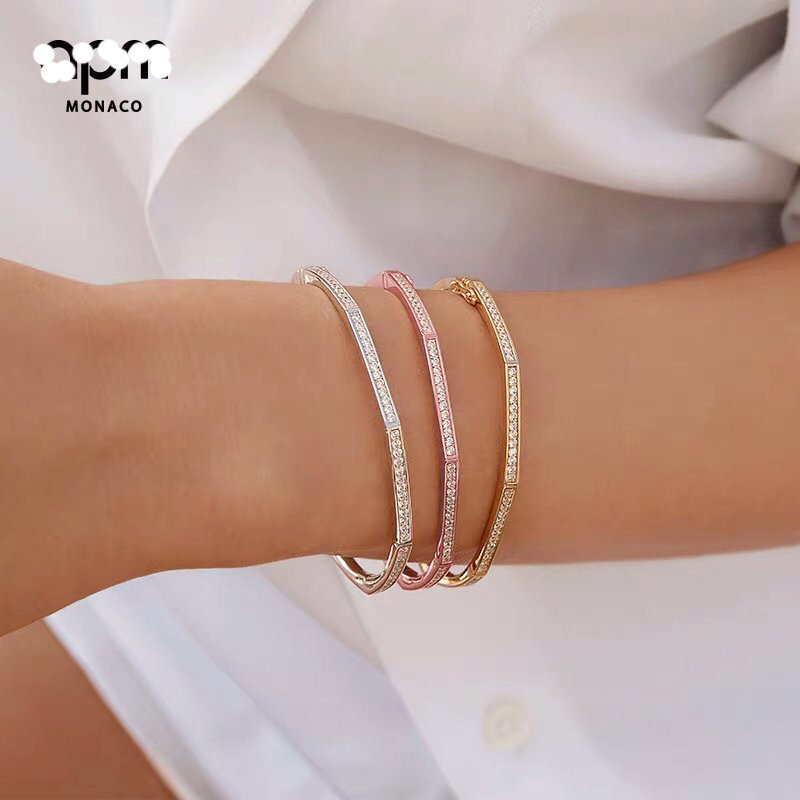 A familys new octagonal geometric bamboo pure silver bracelet simple ins European and American fashion personality design