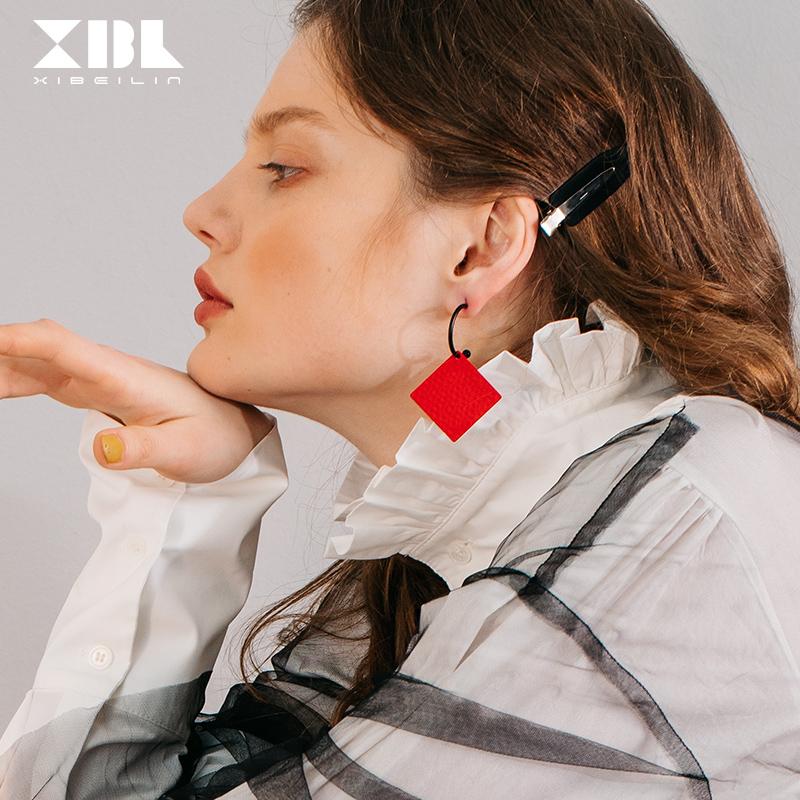 (用20元券)925银针红色菱形耳环女 气质2019潮个性耳坠长款网红显脸瘦的耳饰