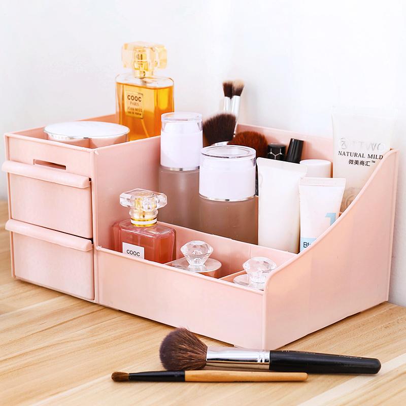 化妆品收纳盒桌面抽屉式箱子口红置物架塑料整理盒创意中号收纳箱11-02新券