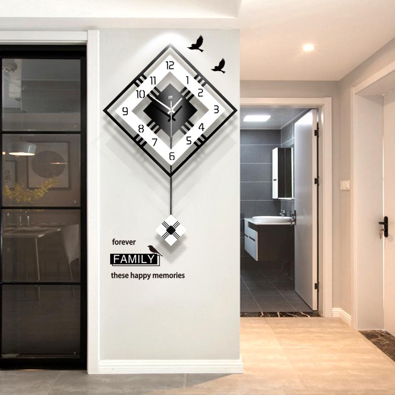 北欧家用钟表挂钟客厅个性创意时尚现代简约大气挂表装饰时钟静音
