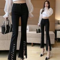 喇叭裤女高腰2021新款春设计感高个子170显瘦开叉钉珠九分微喇裤