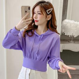 短款卫衣女2020新款秋季学院风小个子潮ins高腰收腰连帽紫色上衣