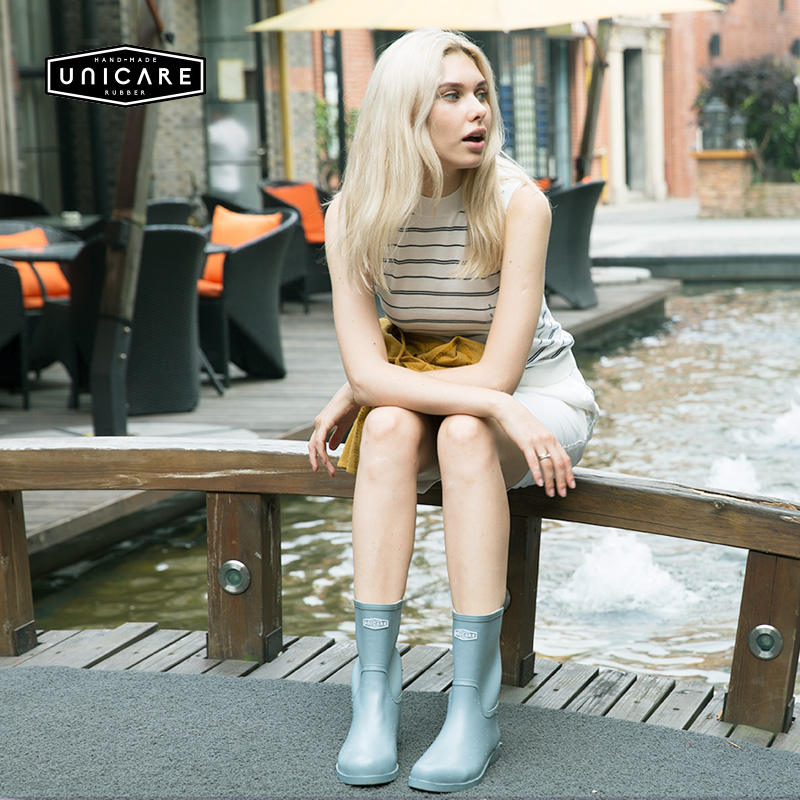 Unicare European and American rain boots women adult non slip rain boots water shoes fashion waterproof overshoes rubber shoes