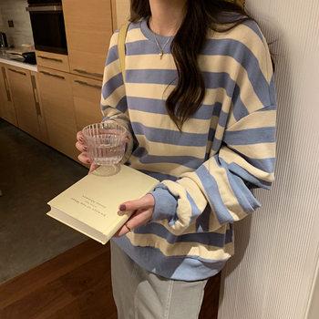 条纹圆领卫衣女2020秋冬新款