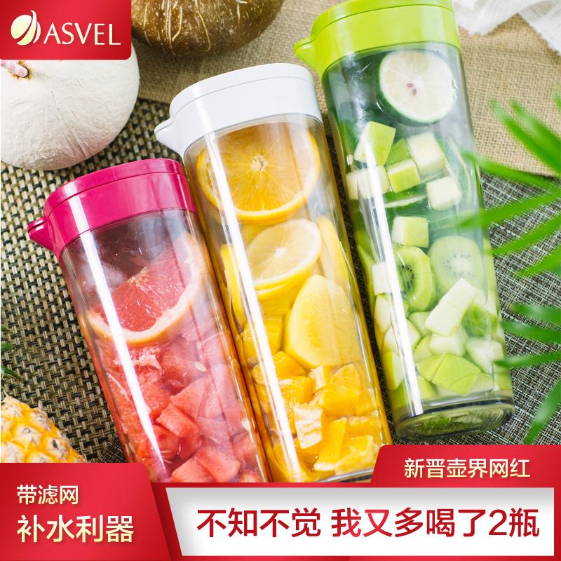 Япония ASVEL холодная вода горшок домой сопротивление горячей пластик прохладно чашка пузырь чай наряд фруктовый сок горшок наконечник горшок высокотемпературные прохладно чайник