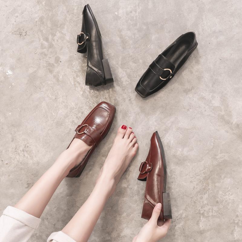 一脚蹬乐福鞋2019秋季夏款小皮鞋子女平底方头英伦风黑色单鞋潮鞋