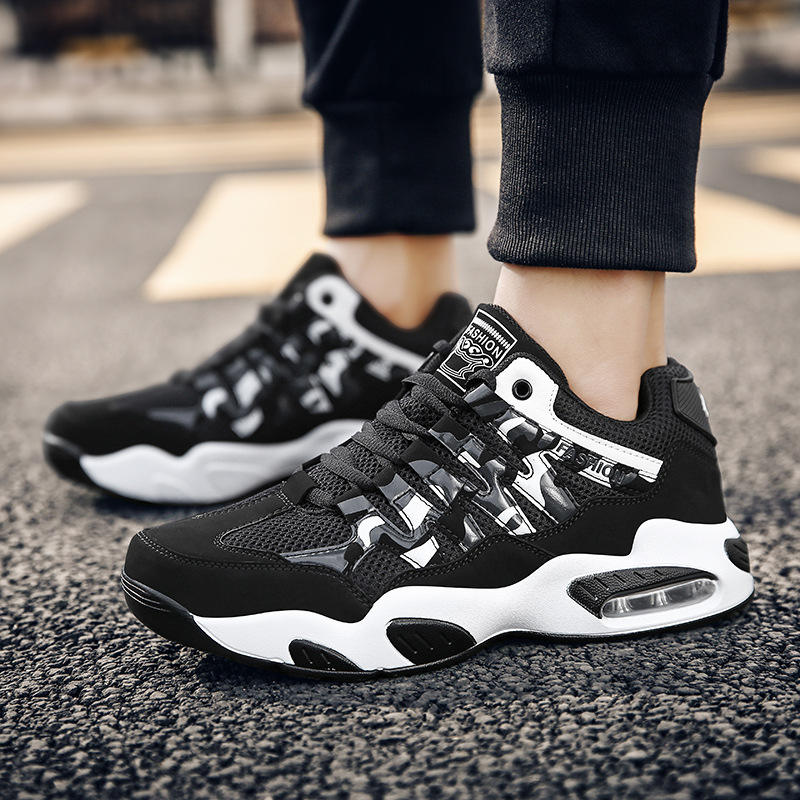 Foot King sells Jinjiang shoes mens high top air cushion light sole breathable sports shoes student fashion running shoes 38 to 45