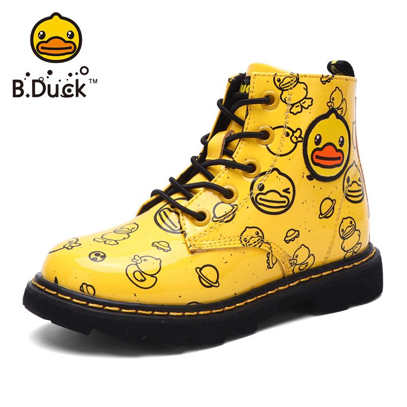 B.Duck小黄鸭童鞋男童马丁靴冬季品牌女孩加绒儿童棉靴女童雪地靴
