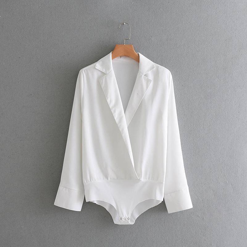 2018春季新款潮流女装白色连体裤 翻领纯色长袖宽松垫肩连体衣女