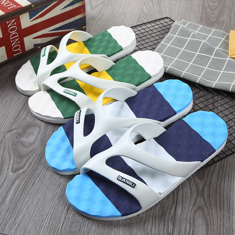 Mens summer home soft bottomed bathing wear antiskid beach sandals indoor mens slippers