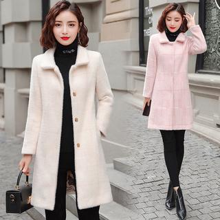 2021秋冬装新款女装韩版中长款呢子风衣金貂绒大衣毛呢加厚棉外套