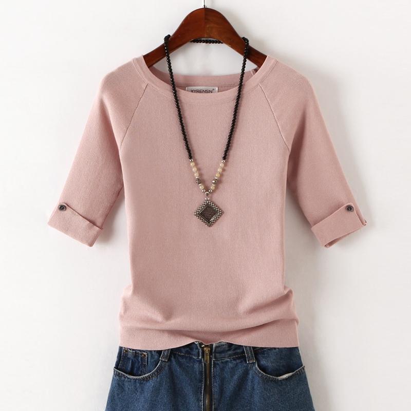 冰丝针织衫女夏季薄款纯色圆领韩版修身显瘦五分中袖女体t恤上衣