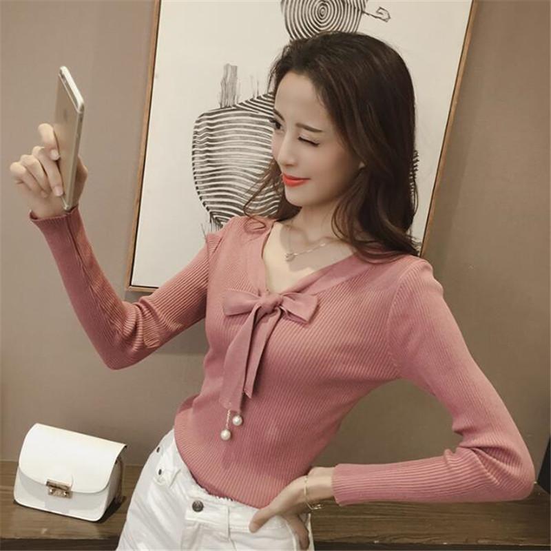2018秋装新款纯色修身显瘦V领长袖针织衫韩版英伦风时尚百搭薄款