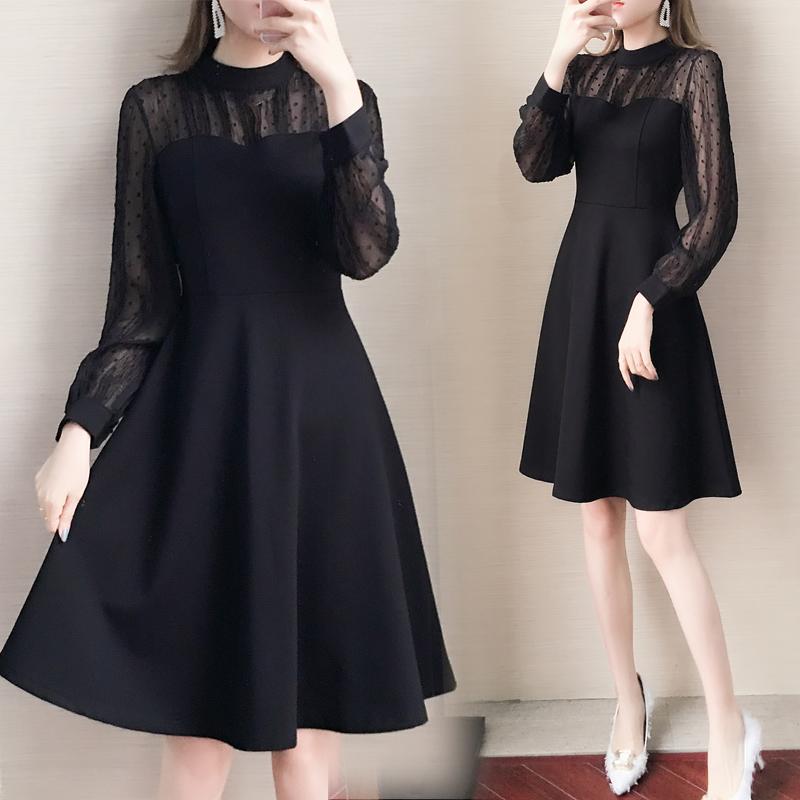 大码女装2021春秋新款胖妹妹法式气质显瘦连衣裙雪纺灯笼袖小黑裙