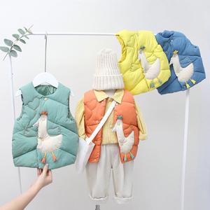 儿童卡通秋冬季棉背心宝宝坎肩加厚保暖婴幼儿男女可爱洋气小马甲