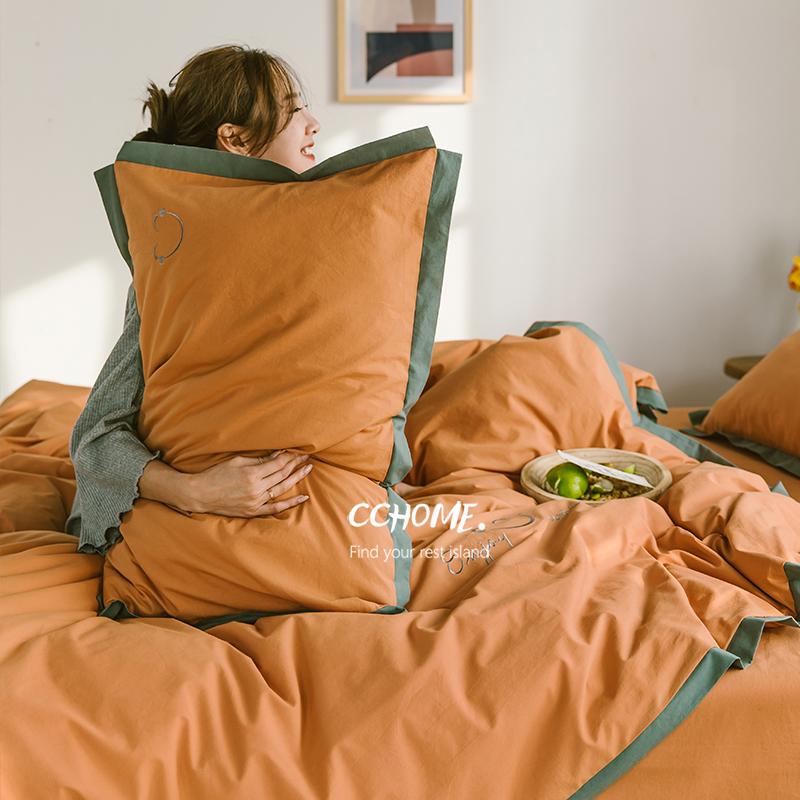北欧简约裸睡加厚水洗棉刺绣床单好不好