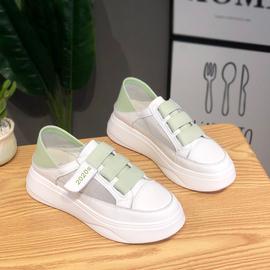 一脚蹬小白鞋女真皮百搭可踩后跟单鞋子绿色夏季网面透气两穿女鞋图片