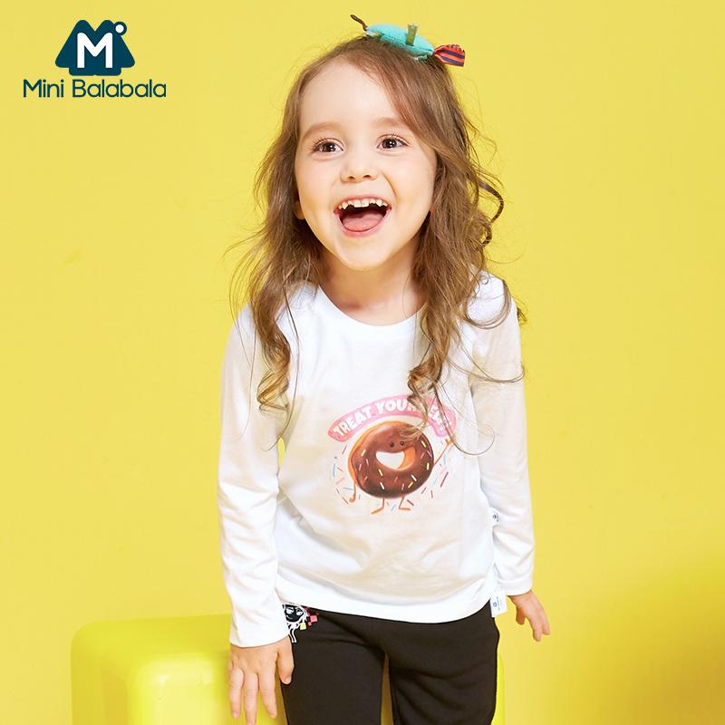 迷你巴拉巴拉女童长袖T恤秋季儿童上衣emoji卡通款新款纯棉体恤衫