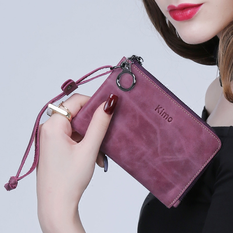 KIMO 欧美女士真皮短款拉链学生牛皮小钱包零钱包手拿包钥匙包包邮