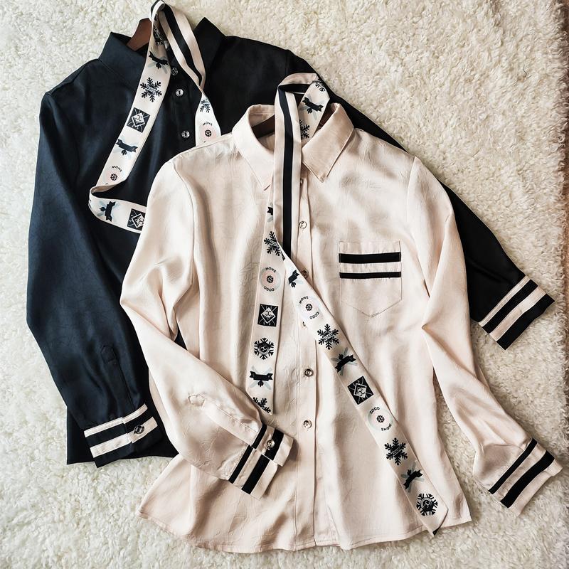 2020春装新款纯色衬衫女百搭韩版长袖衬衣宽松设计感小众飘带上衣