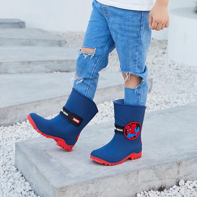 正品迪士尼儿童雨鞋男童防滑 中大童水鞋水靴加绒保暖宝宝雨靴女