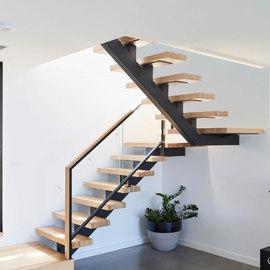 钢木直梁玻璃楼梯室内家用跃层阁楼复式别墅铁艺楼梯定制现代简约图片