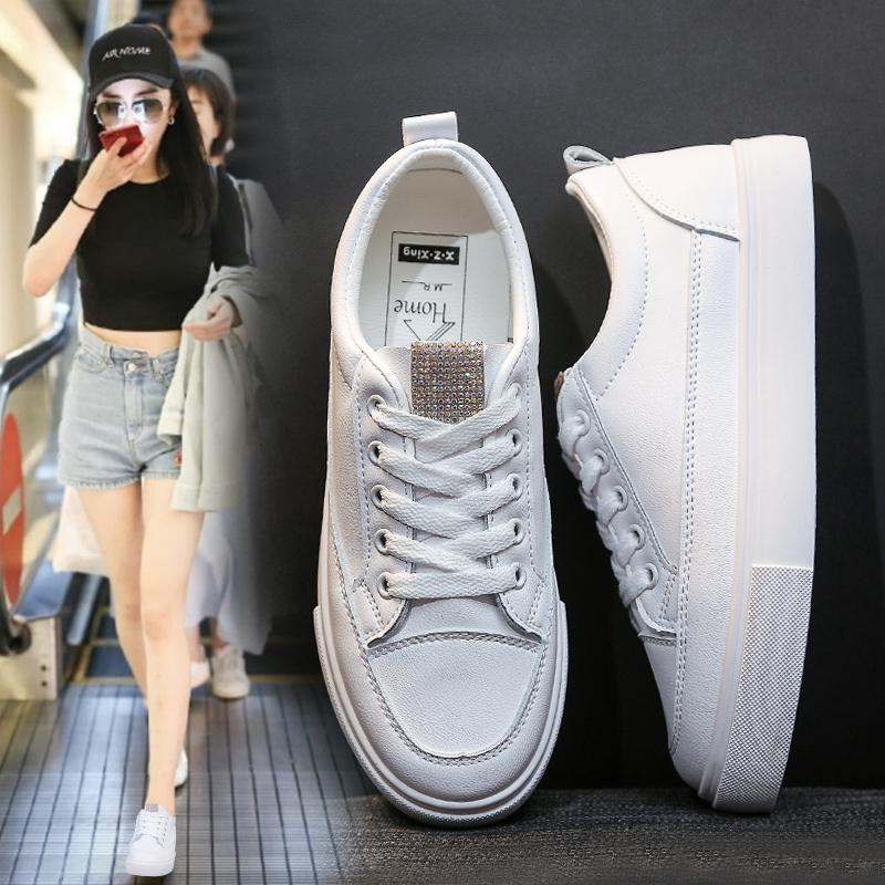 皮面基础款女鞋小白鞋女2019夏款百搭韩版学生平底鞋子潮鞋板鞋女