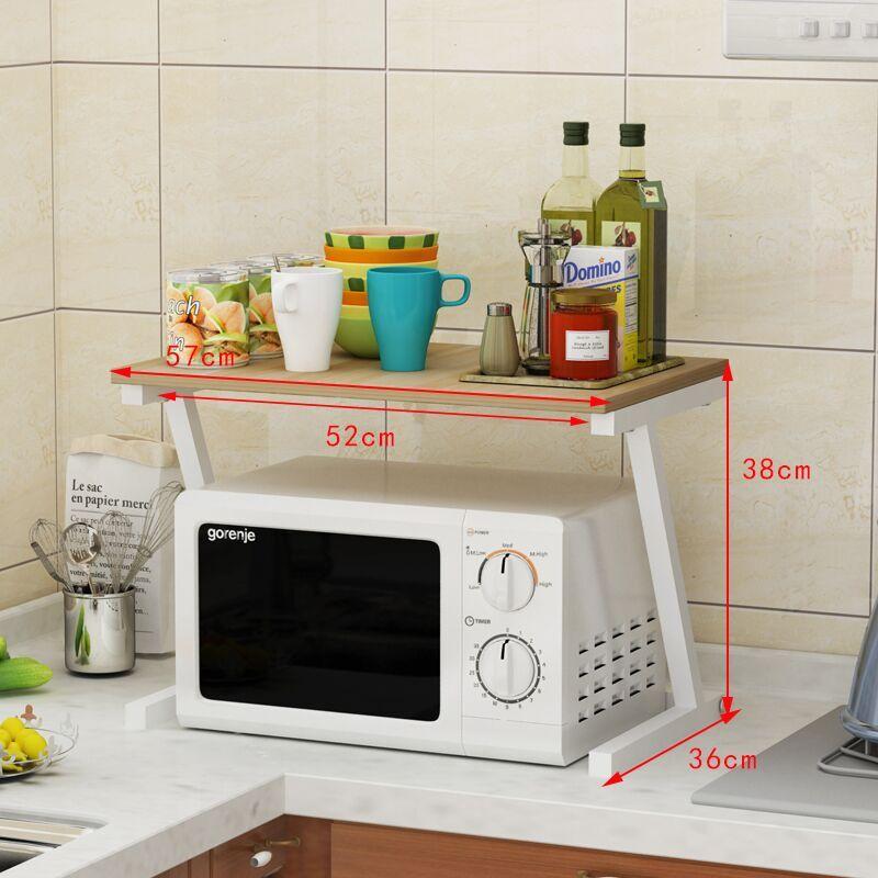 廚房木板微波爐置物架子儲物調料品多 收納架落地雙層烤箱架