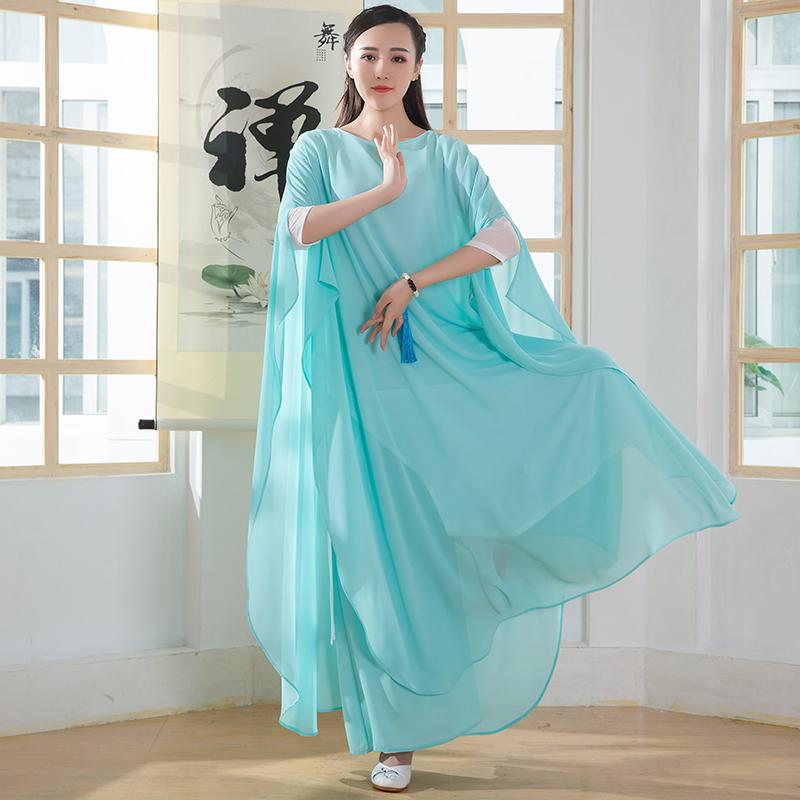 禅舞服装女白色禅服仙女连衣裙二件套中国风茶服文艺网袖升级长裙