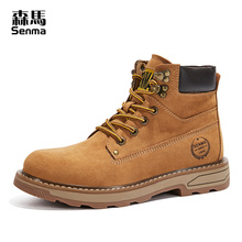 Senma men's boots autumn high help Martin boots men's waterproof British style casual Yellow Boots Plush tooling boots