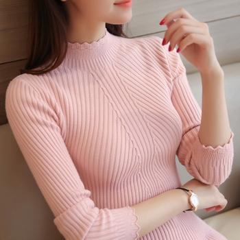 新款打底衫女式长袖针织衫韩版纯色时尚修身圆领