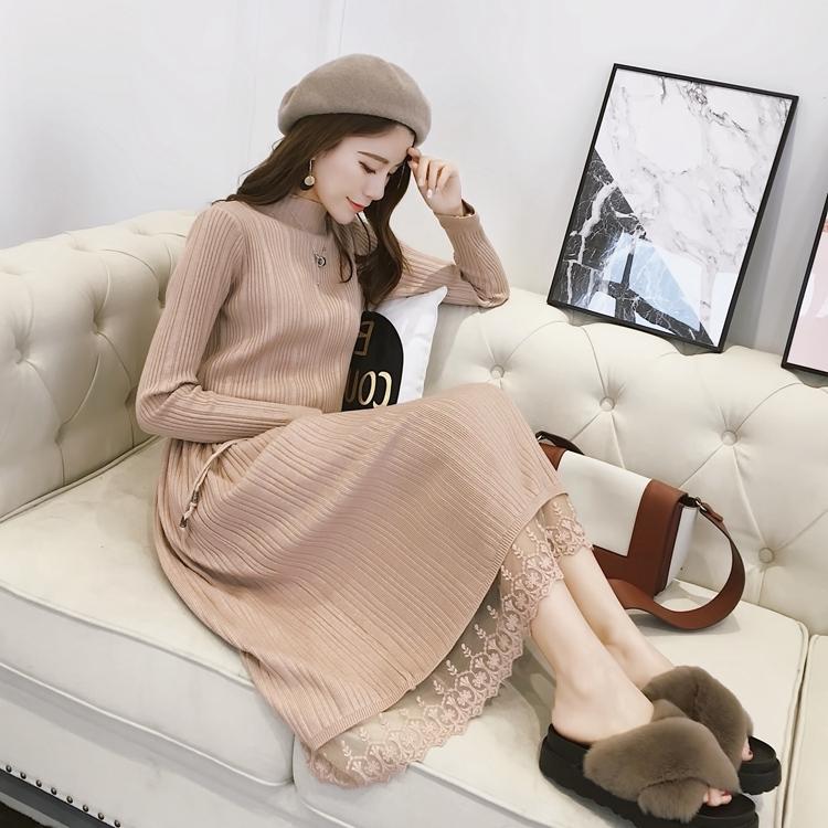 秋装新款气质淑女中长款蕾丝拼接半高领显瘦针织连衣裙时尚打底裙