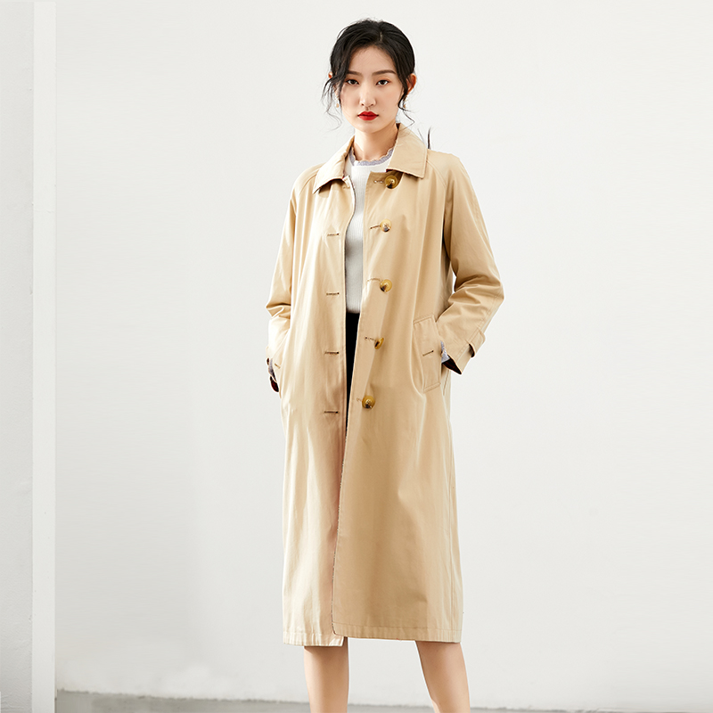 Waitmore trench coat women's autumn and winter 2019 new small long over knee Korean retro loose coat