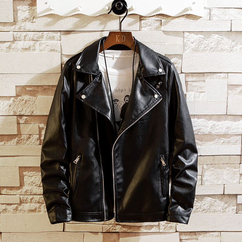 Leather Mens fashion Korean slim and handsome night show Lapel leather jacket mens spring and autumn coat inclined zipper motorcycle suit