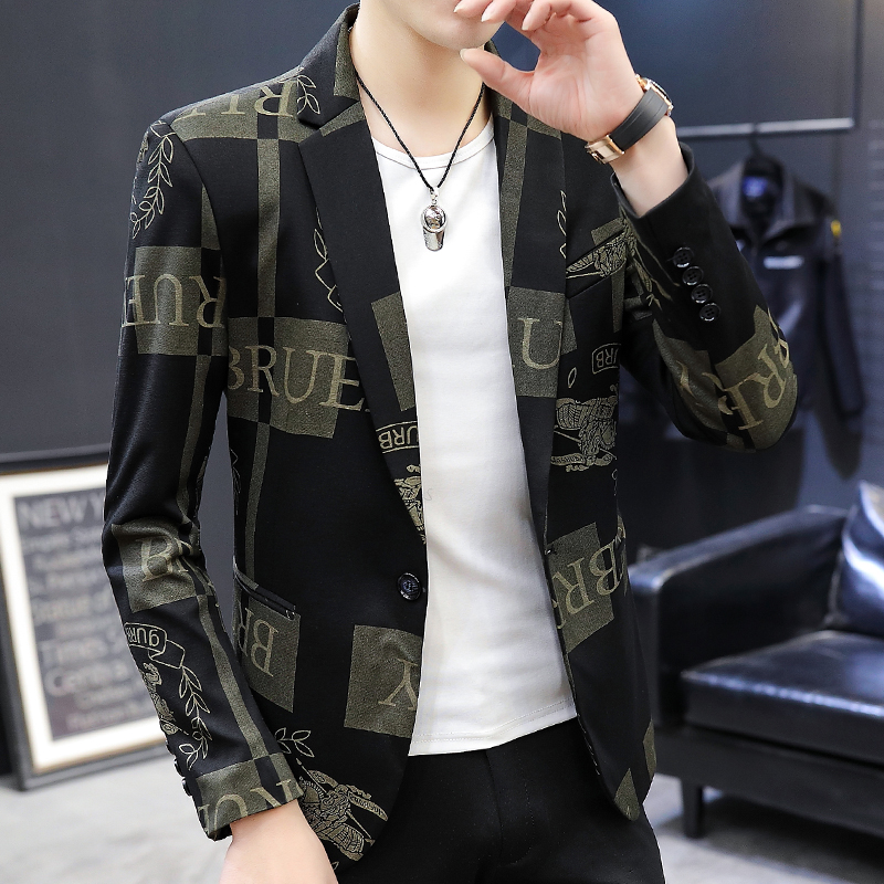 Casual suit mens Korean slim trend Plaid small suit coat mens spring and autumn single western style clothes British style