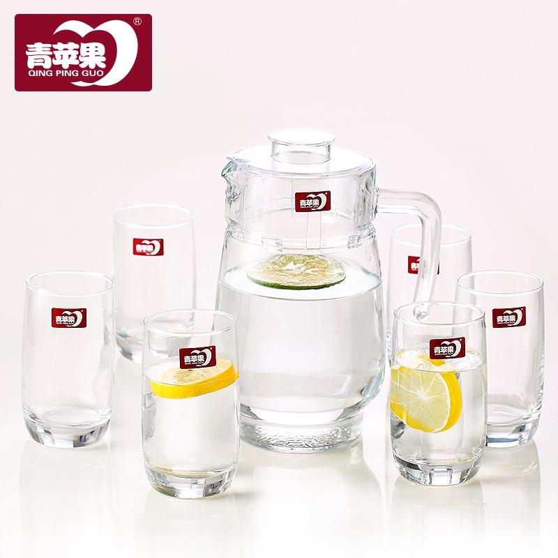 青蘋果玻璃冷水壺涼水壺紮壺果汁七件套裝家用水杯水具玻璃杯