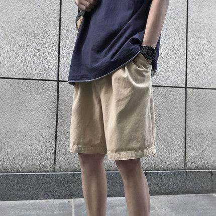 短裤男夏季宽松港风潮流帅气纯色休闲裤韩版学院风百搭直筒五分裤
