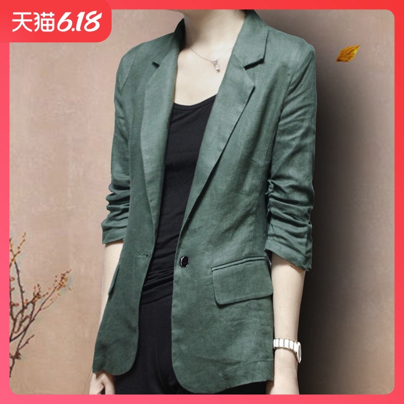 Cotton and linen Blazer coat 2020 summer new thin linen suit 7-sleeve women's large leisure spring and Autumn
