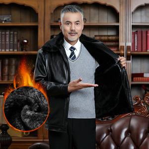 新款冬季中老年人皮衣男休闲男装外套加绒加厚中年男士爸爸皮夹克