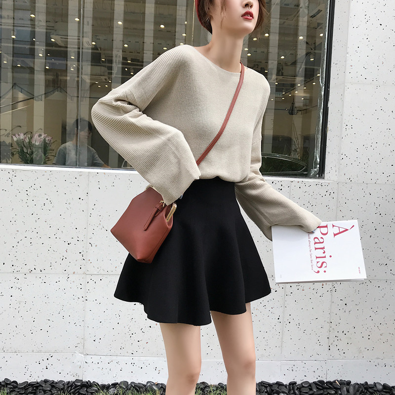 短裙女秋冬羊毛针织半身裙打底毛线蓬蓬百褶高腰a字伞裙子冬秋裙