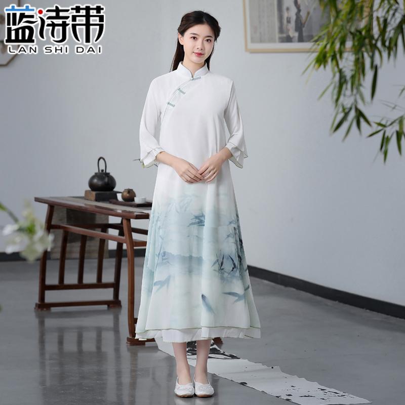 2019夏新款中式盘扣女装改良汉服旗袍雪纺连衣裙套装两件套茶服禅