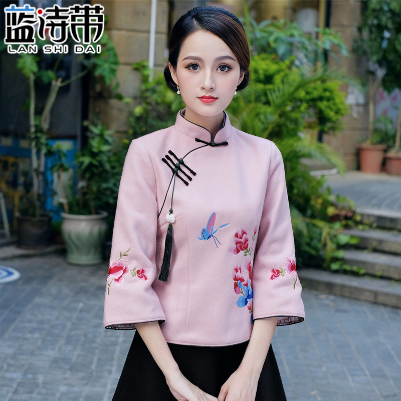 Tea suit female suit improved Tang suit Chinese retro cheongsam tops Chinese style coat tea art