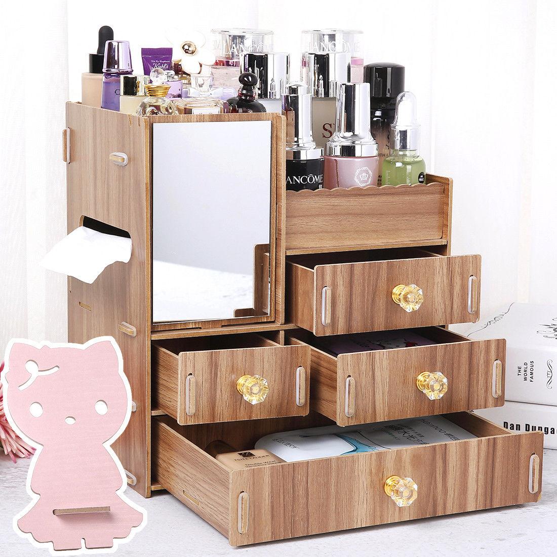 木质化妆品收纳盒桌面收纳盒木制抽屉式梳妆台化妆盒宿舍首饰盒子