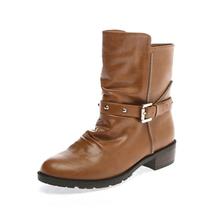 鞋柜-铆钉拉链英伦中筒靴