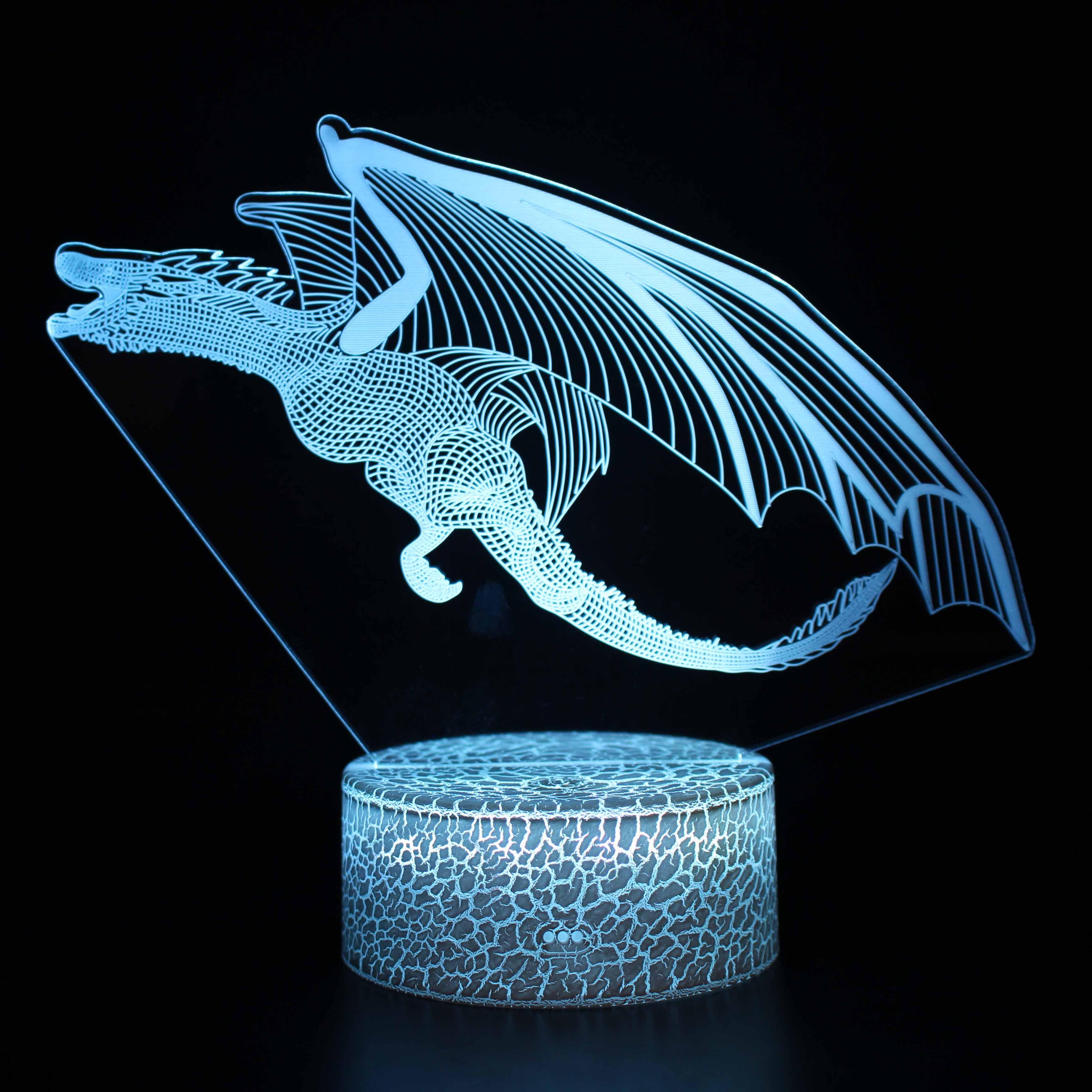 新款3D小夜灯恐龙翼龙霸王龙USB充电七彩视觉灯儿童卧室生日礼物